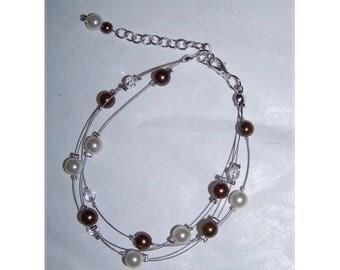 Bracelet Bridal Jewelry Wedding ivory glass (or white) pearls and chocolate brown