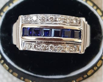 Sapphire and Diamond Art Deco Style Ring 18ct White Gold