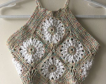 One of a kind Floral Crochet Halter Top