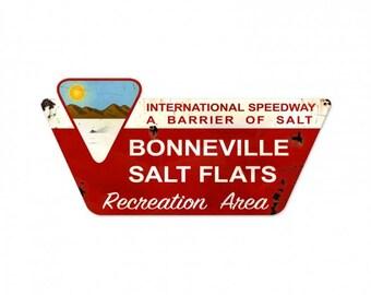 Bonneville Salt Flats Recreation Area  metal (steel) sign.  27x13 inches