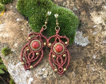 Macrame earrings red jasper with a bronze setting - color mahogany