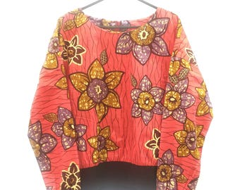 Pink flowery print blouse // size S-M