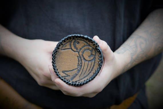 Viking Elder Futhark Rune Pouch with Raven Design - Huginn & Muninn - Odin's Ravens