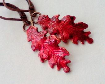 Red Oak Leaf Earrings, Oak Leaf Dangles, Leaf Earrings, Hand Painted Earrings, Autumn Earrings, Jewelry for Fall, Fall Earrings, Nature