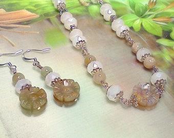Handcut Jadeite Jewelry, Jadeite Flower Necklace and Earrings, Jadeite and Crystal Earrings, Opaque Crystal and Jadeite Neck and Earrings