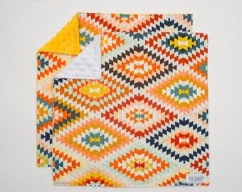 Lovey Aztec. Ready to Ship. Mini Baby Blanket. Baby Shower Gift. Tribal Lovie. Lovie. Security Blanket. Multi Color Lovey. Minky Blanket.