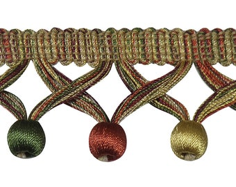 """5 Yard Value Pack of Light Gold, Rust , Olive Green 1 3/4"""" Ball Fringe Style# Bbf0175 Clr 4770b (15 Ft / 4.5 Meters)"""
