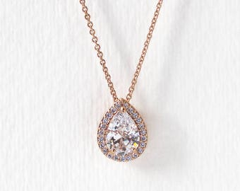 Crystal Necklace, Teardrop Pendant, Rose Gold Necklace, Wedding Jewelry, Bridal jewelry, Wedding Accessories, Bridesmaid Gift N529-RG