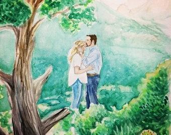 Custom Wedding Art - Watercolor Wedding Portrait
