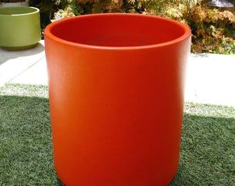 Retro Red Orange Speckled Gainey Planter, Mid Century Modern, Vintage, Architectural Pottery