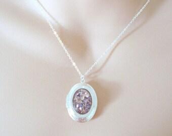 Purple Fire Opal Locket, Glass Opal Locket, Vintage Glass Opal, Harlequin Fire Opal, Layering Necklace, Gift for Her