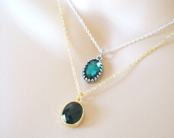 Emerald Glass Necklace, Green Crystal Necklace, Small Layering Necklace, Bridesmaid Necklace