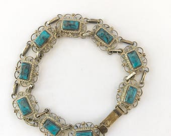 Silver Filigree and Turquoise Link Bracelet Made in Mexico