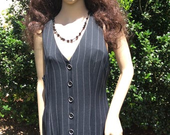 Pin stripe black and white jumper/ dress 80s made in U.S.A. By Dawn Joy Fashions 11/12