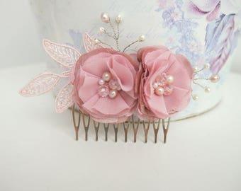 Mauve pink flower hair comb wedding hair accessory Blush pink Hair accessories Dusty Pink hair comb bridal hair comb Headpiece bridesmaid