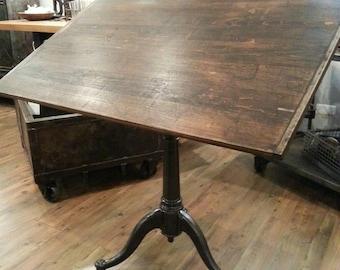 vintage industrial cast iron adjustable drafting table
