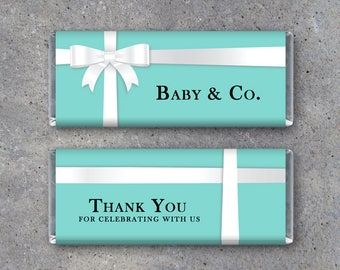 Baby U0026 Co. Tiffany Inspired Baby Shower Candy Bar Wrappers   Printable  White Ribbon Baby