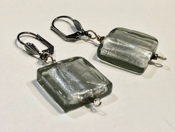 Handmade shimmering translucent gray glass bead earrings with dark metal ear wires