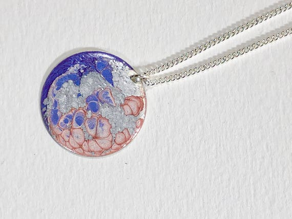 Handmade necklace with abstract design round  silver plated enamel painted (lavender/pink/silver) pendant with sterling silver chain.