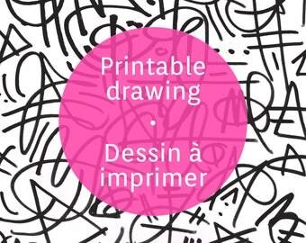 Printable graffiti sheet, ink pen abstract graffiti pattern to print