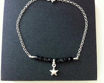 STAR Bar Black Gemstone bracelet. Made entirely of Sterling Silver 925.