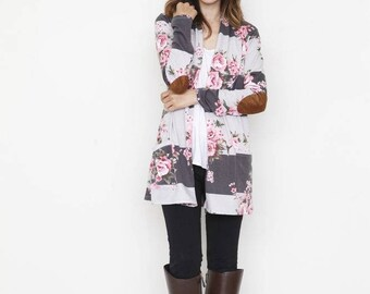Stripe Floral Cardigan with Elbow Patch