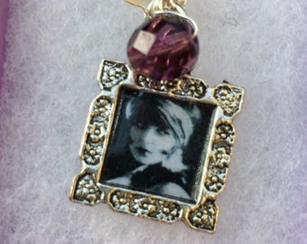 Sirens -Handmade Pendant- Silver Vintage Style Framed Photo & Freshwater Pearl-image Louise Brooks