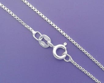 "925 Sterling Silver 1mm BOX CHAIN Necklace 16"", 18"", 20"", 24"", 30"" - Select Size"