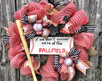 Baseball Wreath, If We Don't Answer We're At The Ballfield Wreath, Sports Wreath, Baseball Deco Mesh Wreath, Baseball Decor, Ballfield
