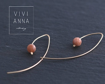 Gold filled earrings with Sunstone e353