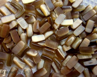 60 cabochons or brick collage CatEye glass blonde tobacco 5 grams
