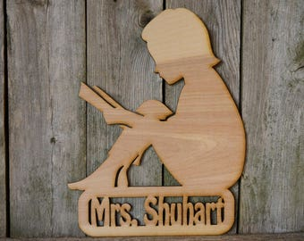Librarian Personalized Name wood cut sign/gift/cutout/laser/door/decor/unfinished/wood/laser