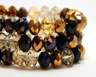 Brown Bead Mix, Crystal Rondelles 8x5mm, Multi-Color Crystal Bead Strand, Brown Crystals, Topaz Crystals, Golden Crystals, Glass Beads D-C15