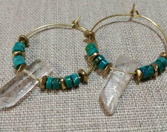 Turquoise and Quartz Brass Hoop Earrings / Tribal Earrings / Boho Chic / Minimalist / Geometric - EQH01TQ
