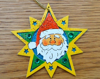 Santa Star Ornament - Hand Painted - One of a Kind