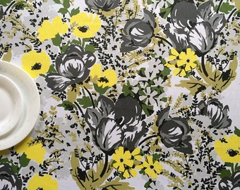Tablecloth or Table runner  - Scandinavian cotton fabric - Table linens - Yellow/Green/Grey