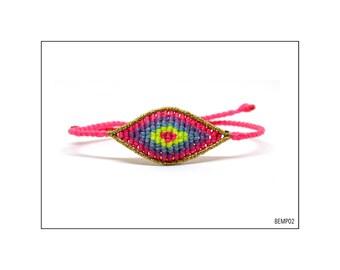 Macrame Eye Bracelet - Neon Pink and Yellow, Purple and Blue  - Medium / BEMP02