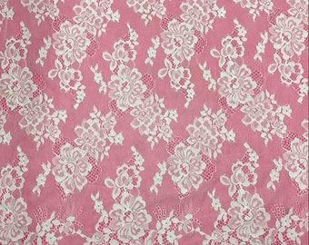 "Chantilly Lace ,eyelash Lace Fabric,rose garden pattern lace  ,off  White Chantilly Lace fabric  for wedding 59"" width-7267"
