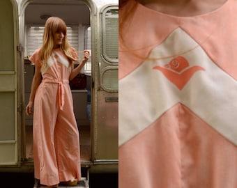 S/M 1970s Peaches and Cream Hawaiian Wide Leg Cotton Jumpsuit