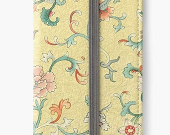 Folio Wallet Case for iPhone 8 Plus, iPhone 8, iPhone 7, iPhone 6 Plus, iPhone SE, iPhone 6, iPhone 5s - Vintage Pastel Floral Design