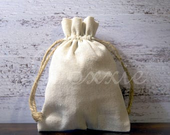 Linen fabric bag with hemp cord natural 5x7 inch set of 3