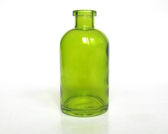 Green apothecary glass bottle, 8 oz, green round glass bottle, green colored glass vase, DIY gift, wedding, party favor green centerpiece