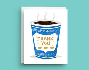 Thank You Card, Thank You Coffee Card, Coffee Cup Card, Greek Coffee Cup, Thinking of You Card, Appreciation Card, Thank You Card