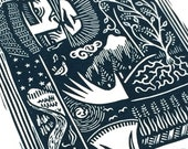 Limited Edition 'Man of the Land' print - handprinted nature linocut / lino print (16 cm x 23 cm)