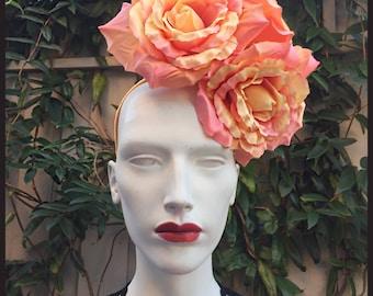 Peach /Coral/Orange Silk Rose Fascinator/Rose Fascinator/Ascot /Wedding Fascinator.Ref:008