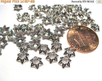 50% OFF Clearance Sale-- Antique Silver Flower Bead Caps 7mm