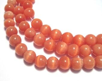 1 Strand Orange Cat's Eye Glass Beads 8mm Round