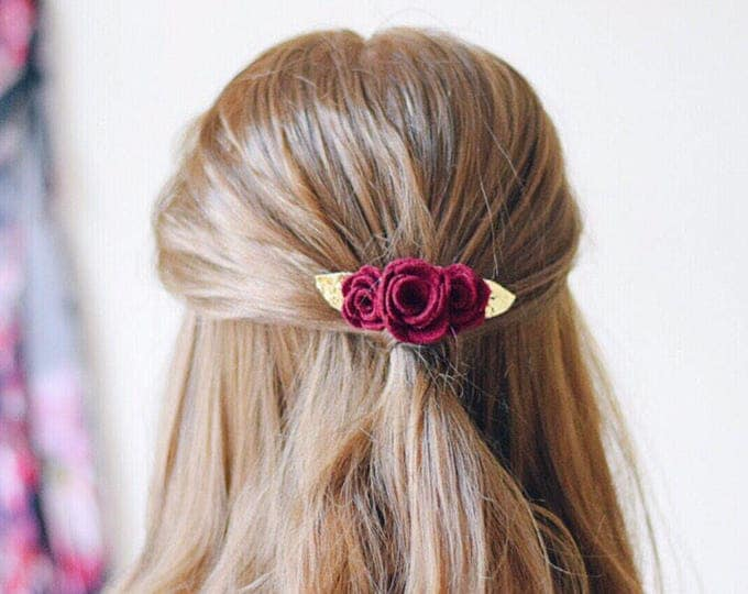 Featured listing image: Burgundy and gold glitter flower hair clip for autumn weddings.  An alternative  colourful wedding hair accessory for bridesmaids