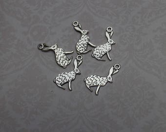 Set of 5 Silver Bunny rabbit charms