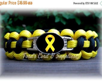 CIJ SALE Yellow Awareness Bracelet, Paracord Bracelet, Support Our Troops, Suicide Prevention, Sarcoma, Spina Biffida, Bladder Cancer, Endom